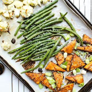 One Pan Honey-Sesame Tofu + Veggies.