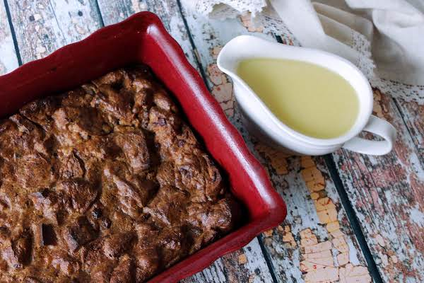 Cranberry Walnut Bread Pudding With Sauce.