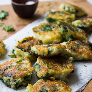 Leftover Mashed Potato Cakes with Spinach.