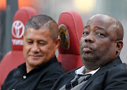 AmaZulu chairman Dr Patrick Sokhela (R) with the club's head coach Cavin Johnson during an Absa Premiership match against Kaizer Chiefs at FNB Stadium in Johannesburg on September 22, 2018.