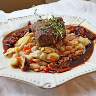 Roasted Colorado Lamb Chops with White Beans and Wine Sauce