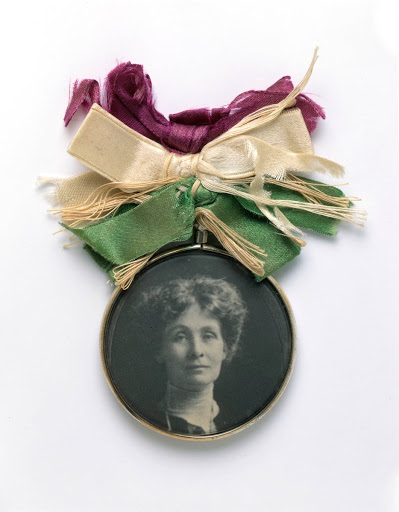 Glass-fronted brooch with portrait of Emmeline Pankhurst