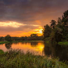 Sunset At The Lake by Griff Johnson - Landscapes Sunsets & Sunrises ( water, sky, sunset, reflections, trees, lake, waverley abbey )