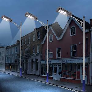 Lampa stradala cu senzor de lumina, telecomanda, suport de prindere