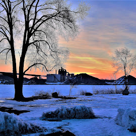 Colorful Creations by Kathy Woods Booth - Landscapes Sunsets & Sunrises ( sunrise, snow, dawn, industry, bridge, colorful, silhouettes, snowy )