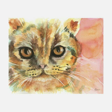09原裝水彩畫 24x19cm Original Painting Army Cat