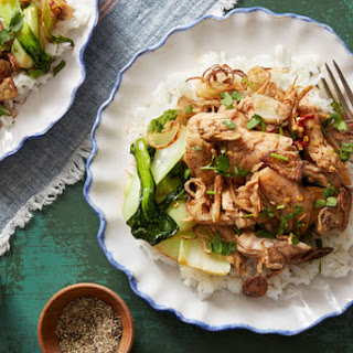 Taiwanese-Style Chicken with Jasmine Rice, Crispy Shallots & Cilantro.