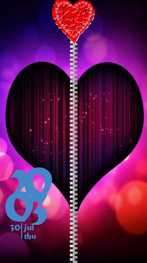 Heart Zip Screen Lock