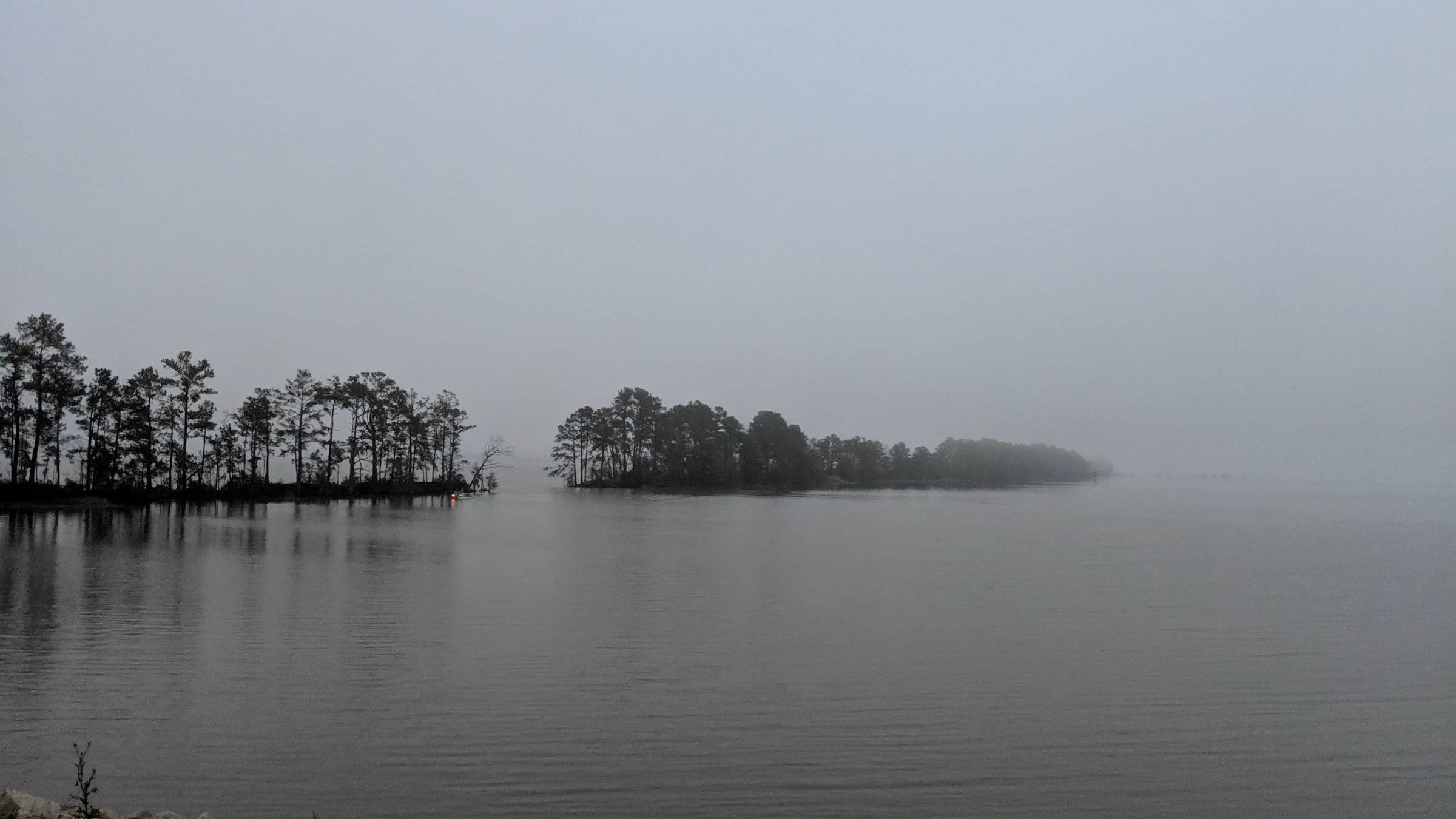 Lake Moultrie boat in the fog