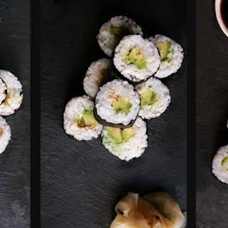 Vegan Sushi - Maki with Shiitake, Avocado and Cucumber.