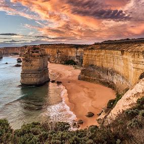 Apostles at Dusk by Michael Bailey - Landscapes Travel ( shore, great ocean road, cliffs, sunset, australia, victoria, dusk, the twelve apostles )