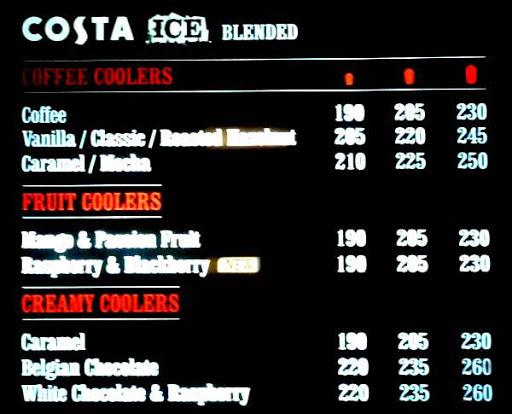 Costa Coffee menu 3