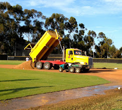 Photo: Gail Materials Pro Gold Infield Mix is delivered.