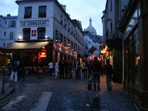 Photo: After dinner, we stroll in the main tourist area of Montmartre - only a few minutes walk from the apartment, but not disturbing our quiet square. Since our last visit, the artists' stands on the square have been entirely replaced by tented restaurants. This is rather sad, we think, but a reminder that money talks everywhere.