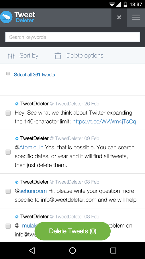 Tweetdeleter- screenshot