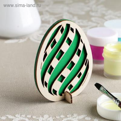 "Заготовка для творчества ""Яйцо. Волна"" двойная, зеленая 9х7 см"