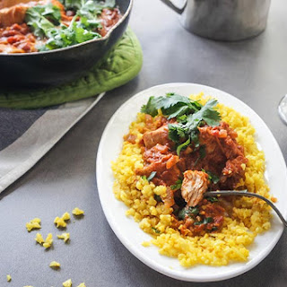"Lightened Up Chicken Tikka Masala with Turmeric ""Rice"" {Low-Carb, Paleo}."