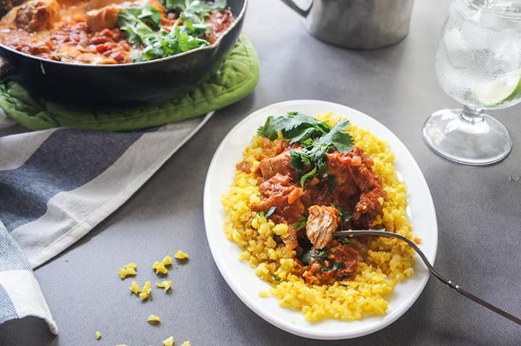 "Lightened Up Chicken Tikka Masala with Turmeric ""Rice"" {Low-Carb, Paleo} Recipe"