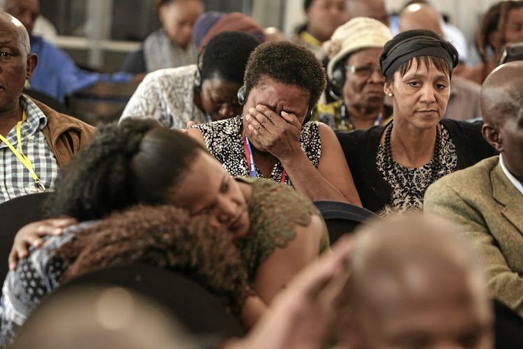 Family members of mentally ill patients who died react at the Life Esidimeni arbitration hearings. File Photo.