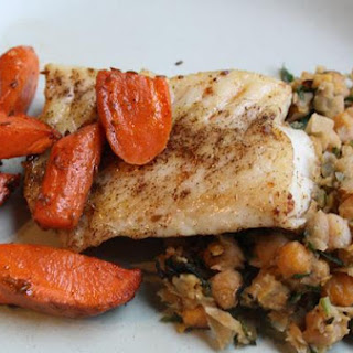 Laura Calder's Halibut With Brown Butter, Crushed Chickpeas With Olives and Roasted Cumin Carrots
