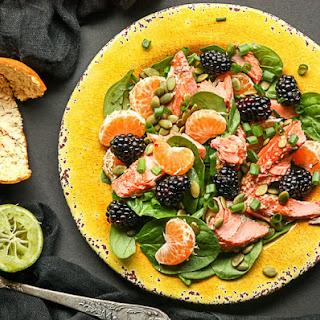 Salmon, Spinach Mandarin Orange Salad