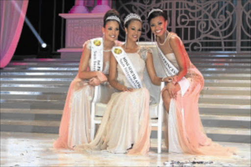 CROWNED:  Marilyn Ramos  was last night crowned Miss South Africa 2012 at Sun City in the North West. On her right is First Princess Stacey Webb and Second Princess Pearl Nxele. PHOTO: BAFANA MAHLANGU