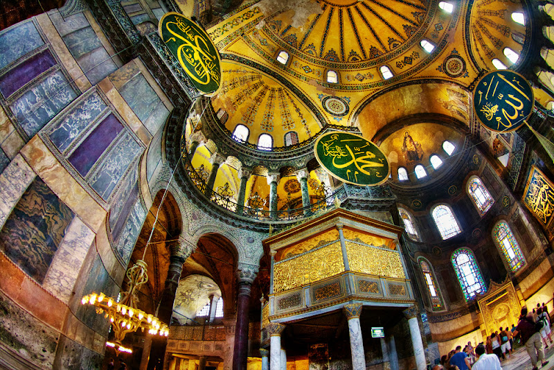 Photo: Inside Hagia Sophia, Istanbul  With this interior photo of Hagia Sophia in Istanbul, Turkey I tried to capture the scale of this gigantic structure. But even with my wide-angle lens, you're only seeing a small corner of this remarkable building. The Hagia Sophia is an interesting mix of Christian and Muslim art and architecture since it was first a Byzantine church, then an Ottoman mosque, and now a museum, and has been rebuilt multiple times. When I was there, much of the interior was being restored. I posted this photo by special request from +betsy barber.
