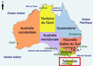 carte d'australie - Tasmanie