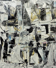 """Photo: Mystic Barber (enamel, charcoal and blueprint paper on canvas) 60x50"""" 2013 (on consignment)"""