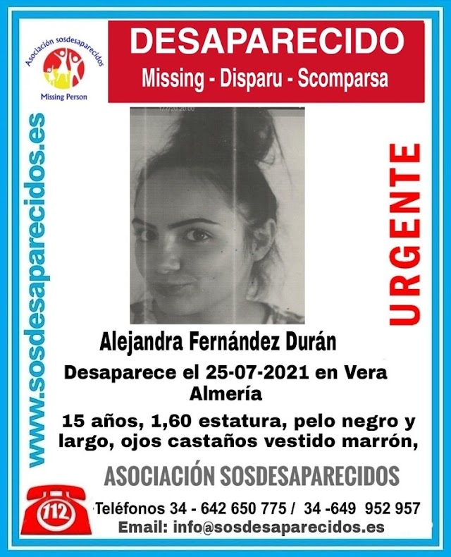Alejandra desapareció el domingo, 25 de julio.