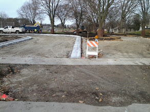 Photo: Parking Lot entrance (left) graded path (right) 11-14-2013