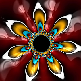 Petal mandala by Pam Blackstone - Illustration Abstract & Patterns ( jung, petals, round, spiral, circle, mandala, disc, radial, red, blue, gold, symmetry, fractal, flower )
