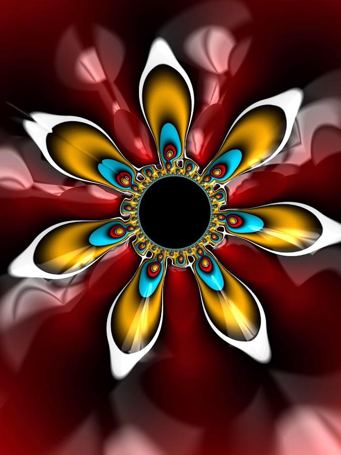 Petal mandala by Pam Blackstone - Illustration Abstract & Patterns ( jung, petals, round, spiral, circle, mandala, disc, radial, red, blue, gold, symmetry, fractal, flower )