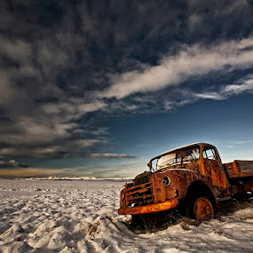Volvo by Þorsteinn H. Ingibergsson - Transportation Automobiles ( clouds, iceland, sky, nature, structor, volvo, landscape, abandoned )