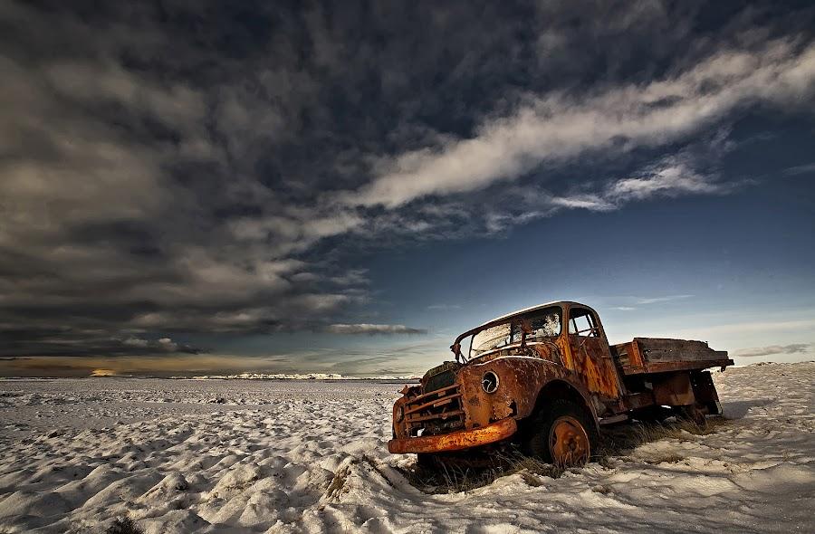 Volvo by Þorsteinn H. Ingibergsson - Transportation Automobiles ( clouds, iceland, sky, nature, structor, volvo, landscape, abandoned )