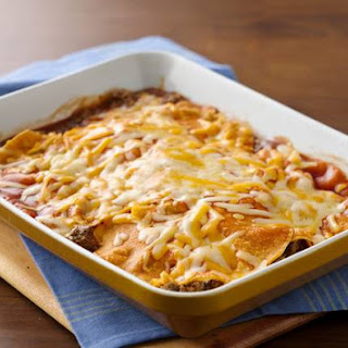 Easy Layered Beef Enchiladas.