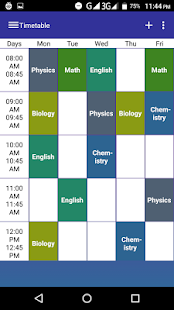 Timetable for student - náhled