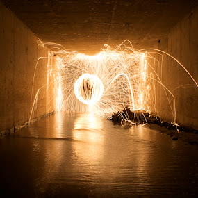 by Jordan Wangsgard - Abstract Fine Art ( water, no photoshop, burning, bounce, walls, light painting, orb, steel wool, noctography, nightography, night, long exposure, burn, sparks, light, tunnel )