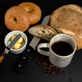 bread and coffee by Bert Templeton - Artistic Objects Clothing & Accessories ( coffee beans, bread, butter, knife, coffee, knives, bagel )