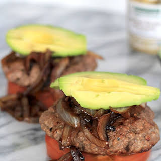 Paleo Burgers with Caramelized Balsamic Onions & Avocado.