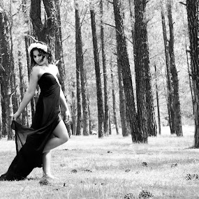 Model in the forest  by Hush Naidoo - Black & White Portraits & People ( model, trees, forest, beauty in nature, beauty, love life,  )