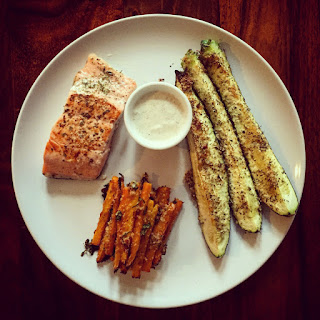 Pan-Seared Salmon with Skinny Carrot Fries & Roasted Courgettes