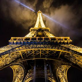 Eiffel by Night by Kim  Schou - Buildings & Architecture Public & Historical ( lights, eiffel tower, paris, landmark, kim schou, dark, night, travel, light, city )