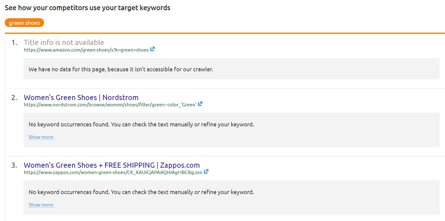 competitor using target keywords