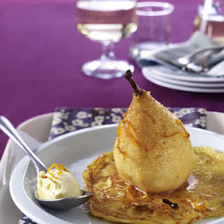 Spiced Pears with Crêpes and Vanilla Ice Cream.