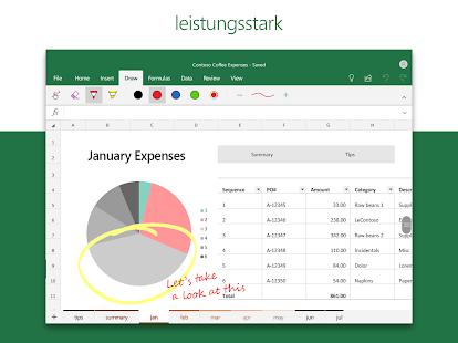 Microsoft Excel: Tabellen anzeigen und erstellen Screenshot