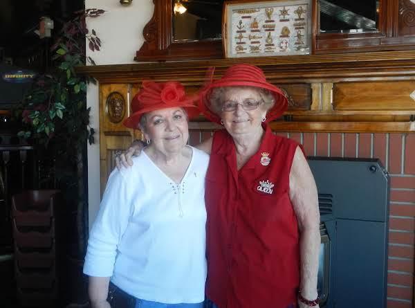 Loretta J. Visiting Nancy P.  9/11/13 Red Hat Lunch  @ Aces Casino Spokane, Wa.