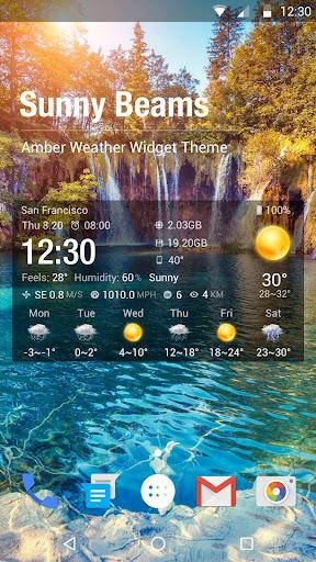 Clock Weather Widget - Sunny