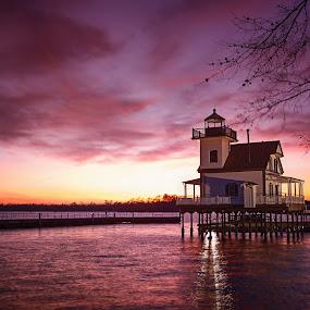 Edenton Lighthouse by Robert Mullen - Landscapes Sunsets & Sunrises ( harbor, walkways, sunset, sundown, lighthouse, docks )