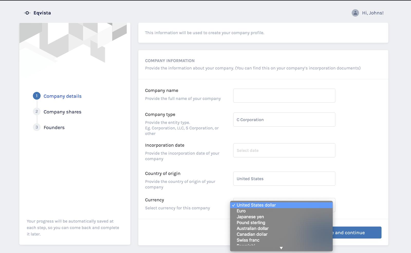Create company profile